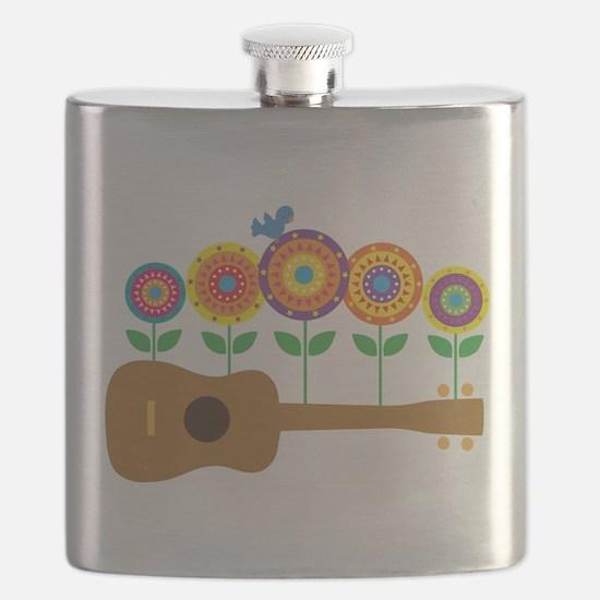 Ukulele Flowers Flask