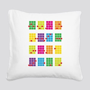 Uke Chords Colourful Square Canvas Pillow
