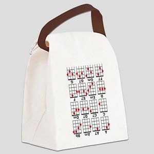 Uke Chord Cheat White Canvas Lunch Bag