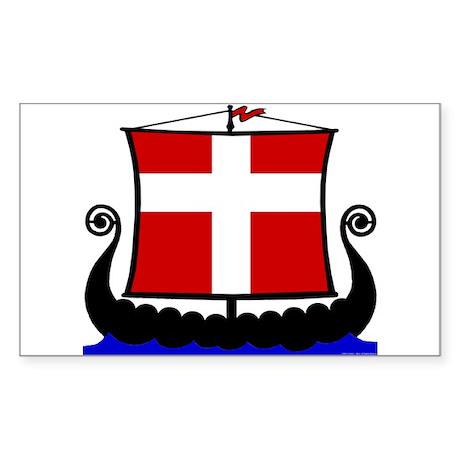 Danish Flag Longship Sticker