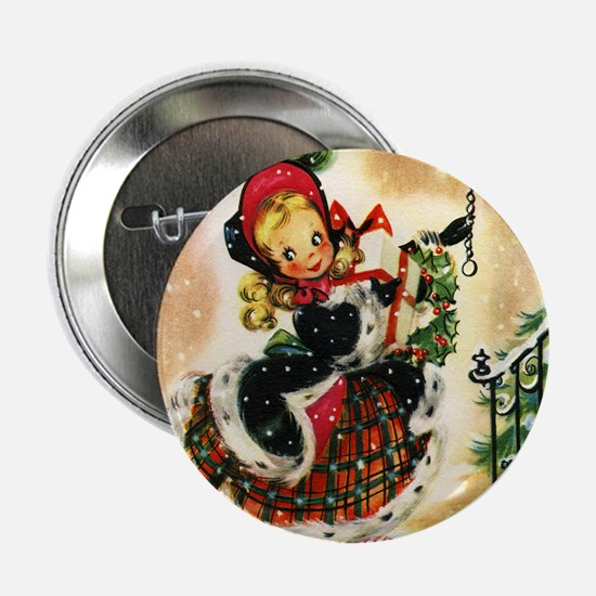 """Vintage Christmas Girl 2.25"""" Button (100 pack)"""