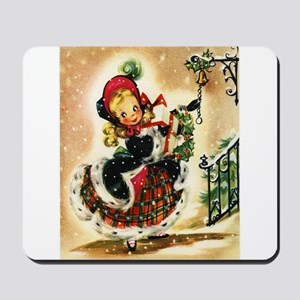 Vintage Christmas Girl Mousepad