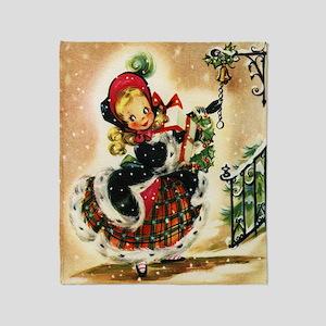 Vintage Christmas Girl Throw Blanket
