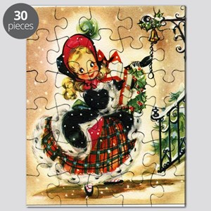 Vintage Christmas Girl Puzzle
