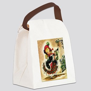 Vintage Christmas Girl Canvas Lunch Bag