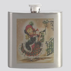 Vintage Christmas Girl Flask