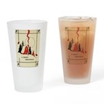 Vintage Merry Christmas Card Drinking Glass