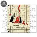 Vintage Merry Christmas Card Puzzle