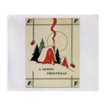 Vintage Merry Christmas Card Throw Blanket