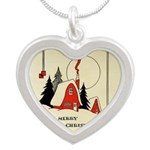 Vintage Merry Christmas Card Silver Heart Necklace
