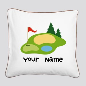 Personalized Golfing Square Canvas Pillow