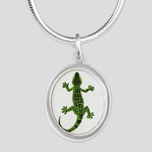 Gecko Silver Oval Necklace