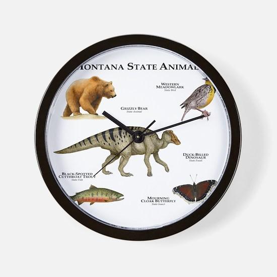 Montana State Animals Wall Clock