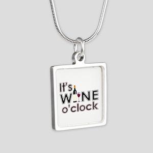 It's Wine O'Clock Silver Square Necklace