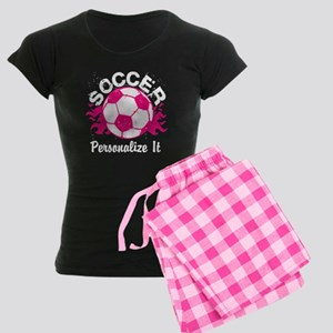 Personalized Soccer Flames Women's Dark Pajamas