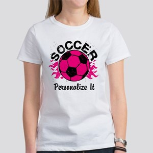 Personalized Soccer Flames Women's T-Shirt