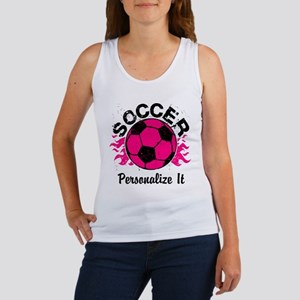 Personalized Soccer Flames Women's Tank Top