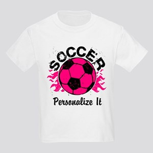 Personalized Soccer Flames Kids Light T-Shirt