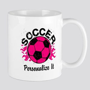 Personalized Soccer Flames Mug