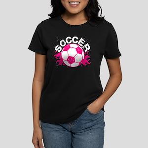 Hot Pink Soccer Flames Women's Dark T-Shirt