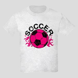 Hot Pink Soccer Flames Kids Light T-Shirt