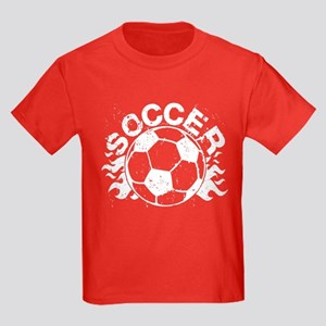 Soccer Flames Kids Dark T-Shirt