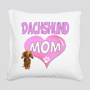 Dachshund Mom 2 Square Canvas Pillow