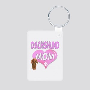 Dachshund Mom 2 Aluminum Photo Keychain