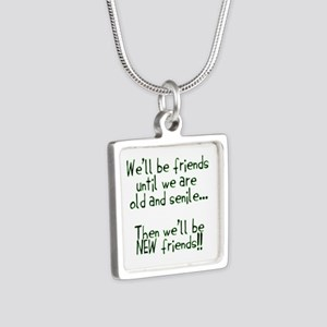 Well be friends png Silver Square Necklace