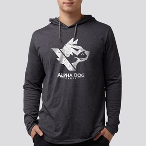 Alpha Dog Games Grey Distressed  Mens Hooded Shirt