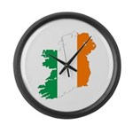 Map Of Ireland w/Flag Colors Large Wall Clock