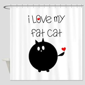 I Love My Fat Cat Shower Curtain