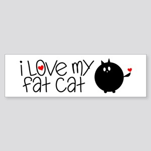 I Love My Fat Cat Sticker (Bumper)