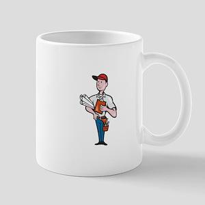 Builder Construction Engineer Worker Cartoon Mug