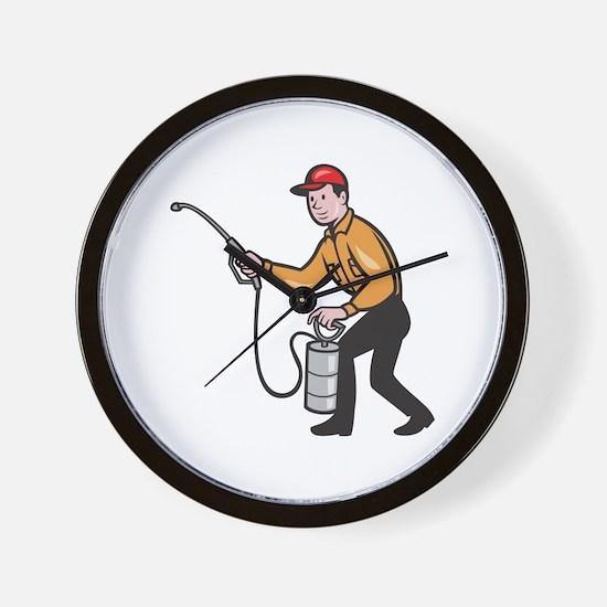 Pest Control Exterminator Worker Spraying Cartoon