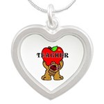 Teachers Apple Bear Silver Heart Necklace