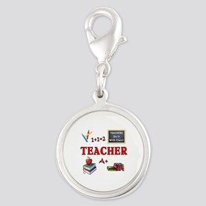 Teachers Do It With Class Silver Round Charm