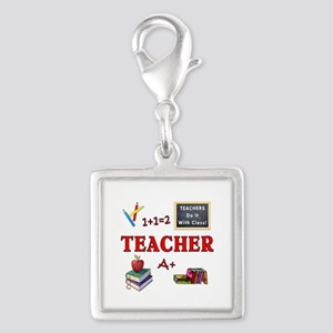 Teachers Do It With Class Silver Square Charm