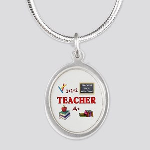 Teachers Do It With Class Silver Oval Necklace