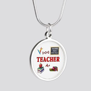 Teachers Do It With Class Silver Round Necklace