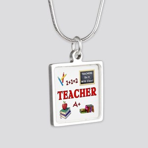 Teachers Do It With Class Silver Square Necklace