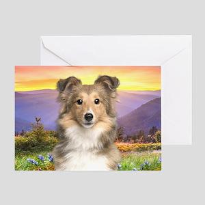 Sheltie Meadow Greeting Card