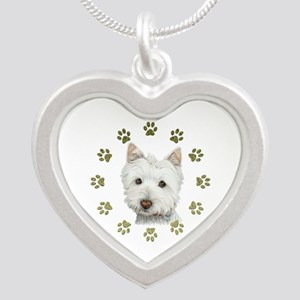 West Highland White and Paws Art Silver Heart Neck