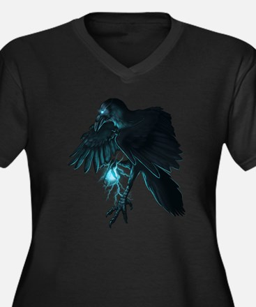 Light Raven Transparent Women's Plus Size V-Neck D