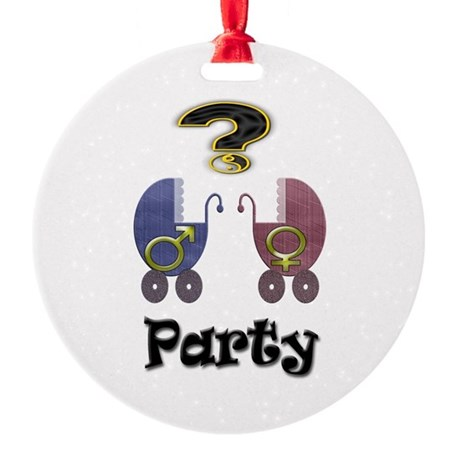 Gender reveal party Round Ornament