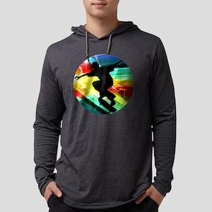 Skateboarding on Criss Cross Lig Mens Hooded Shirt