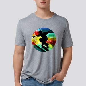 Skateboarding on Criss Cros Mens Tri-blend T-Shirt