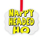 nappyheadedhoyellowblk Picture Ornament