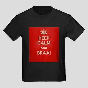 Keep Calm and Braai Kids Dark T-Shirt