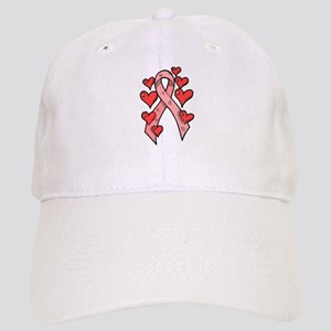 Pink Ribbon with Hearts Cap